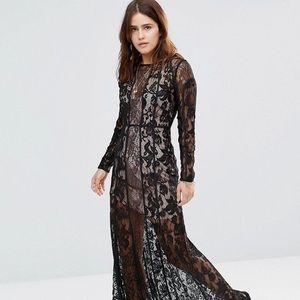 The Jetset Black Lace Gown nwot